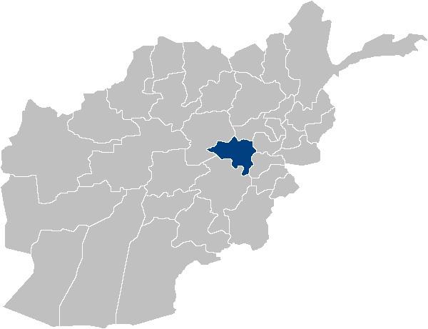 Wardak, blau markiert, hat ungefähr eine Fläche von 8.938,1 km² und hat ca. 580.000 Einwohner (Stand 2008).